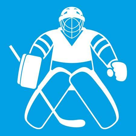 Hockey goalkeeper icon white isolated on blue background vector illustration
