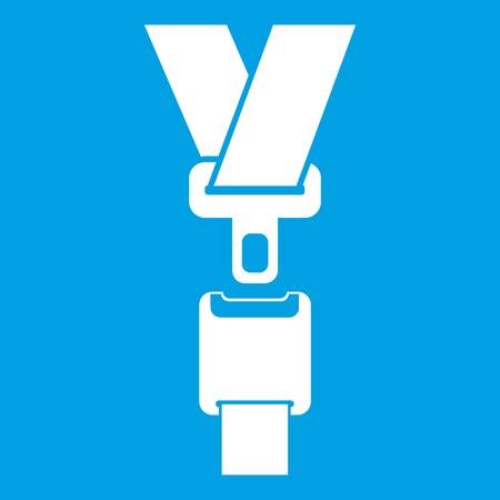 Safety belt icon white isolated on blue background vector illustration Çizim