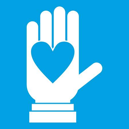 Hand with heart icon white isolated on blue background vector illustration