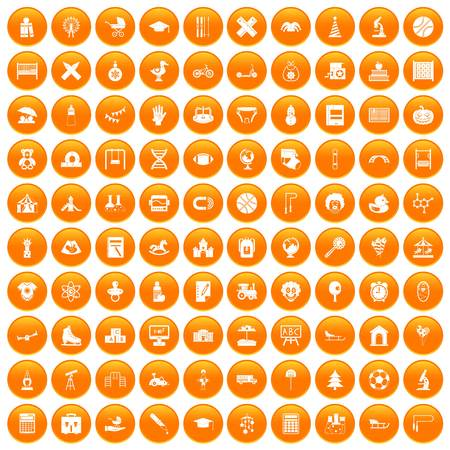 100 kids icons set in orange circle isolated on white vector illustration