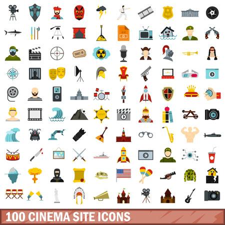 100 iconos del sitio del cine fijados, estilo plano