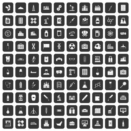 100 chemical industry icons set black Vector Illustration