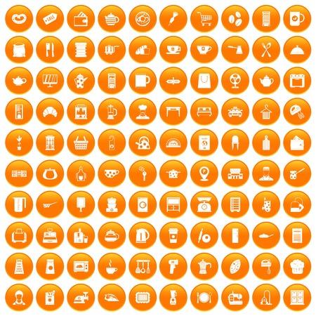 100 kitchen utensils icons set in orange circle isolated on white vector illustration