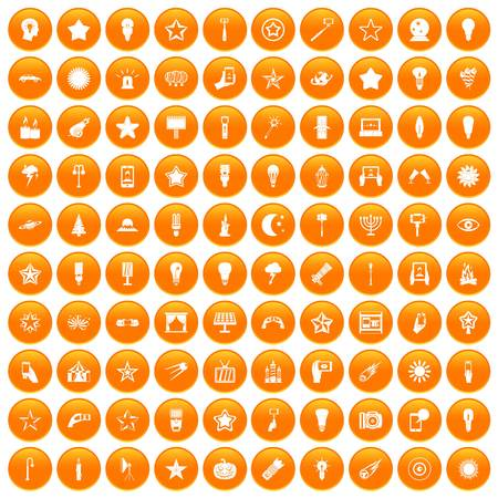 100 light icons set orange