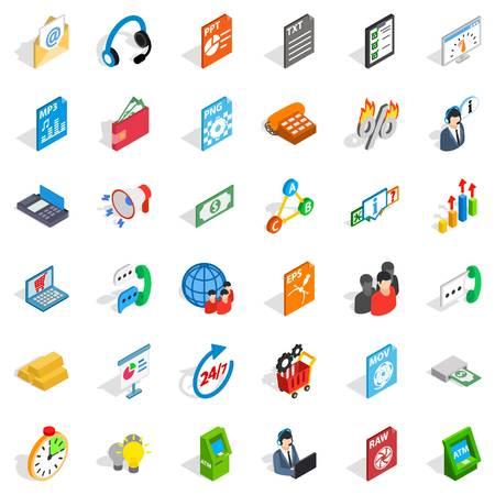 mov: Globe statistics icons set, isometric style