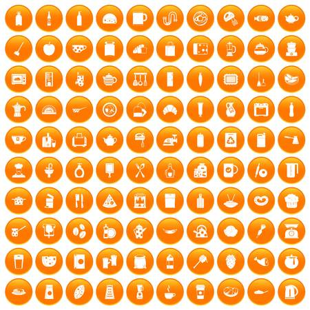 100 kitchen icons set orange