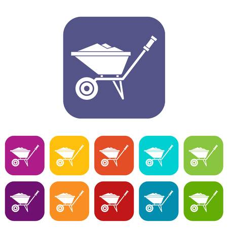 Wheelbarrow icons set vector illustration in flat style in colors red, blue, green, and other Illustration