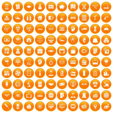 100 loans icons set orange Illustration