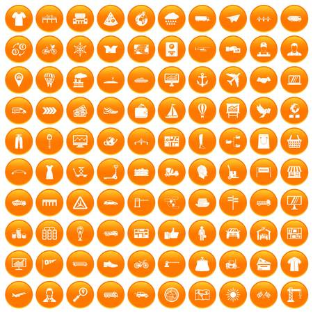 100 logistic and delivery icons set orange Illustration