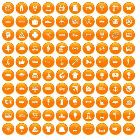 100 logistics icons set orange