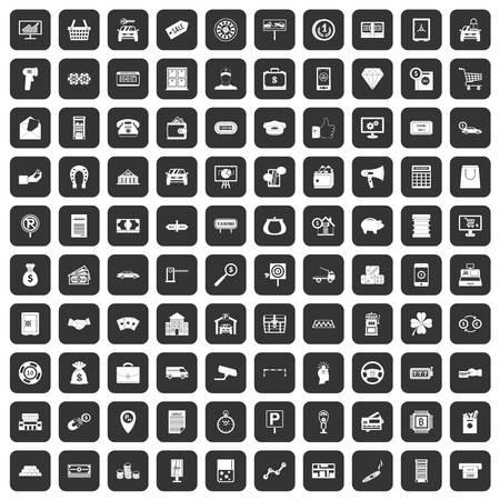 bar magnet: 100 coin icons set black