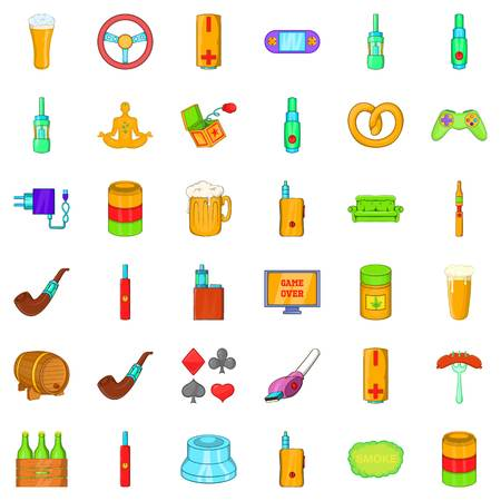 Alcohol icons set, cartoon style Illustration
