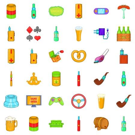 Adult habit icons set, cartoon style Stock Illustratie
