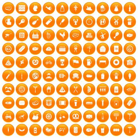 100 meat icons set orange