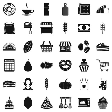 rolling bag: Cook icons set, simple style