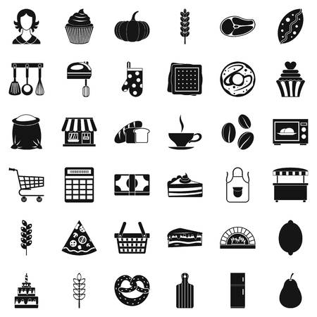 rolling bag: Bakery icons set, simple style Illustration