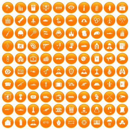 100 military icons set orange Illustration
