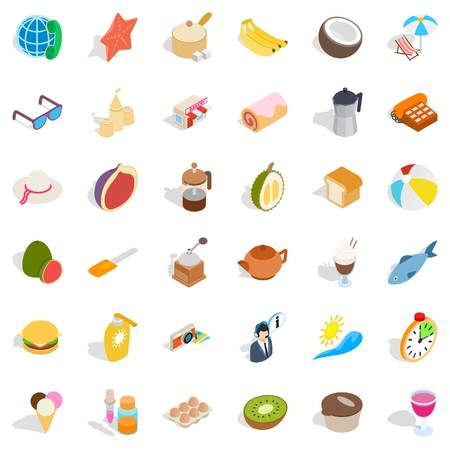 rolling bag: Bakery cooking icons set, isometric style