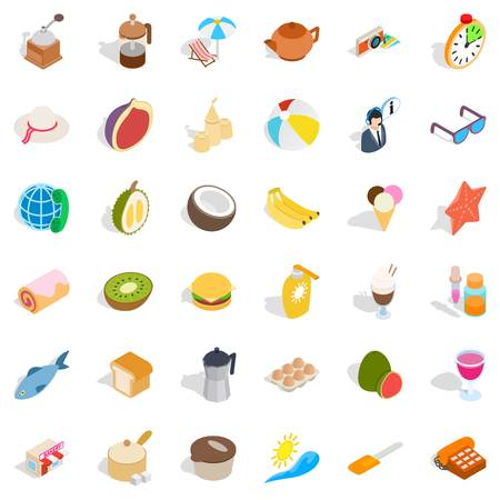 rolling bag: Rest icons set isometric style
