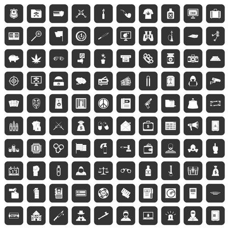 100 criminal offence icons set black
