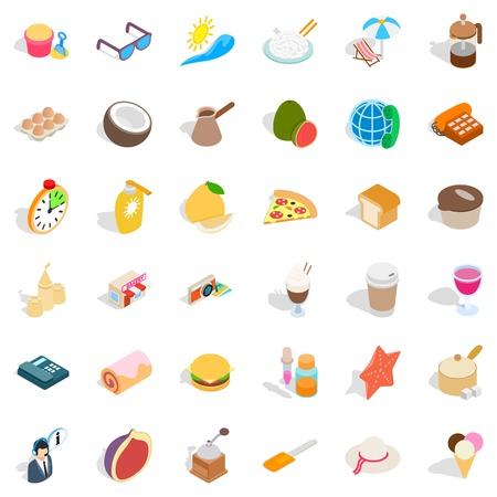 Rest in beach icons set isometric style