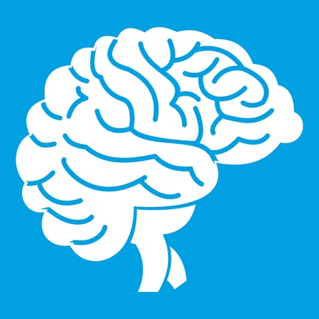 Brain icon white Illustration