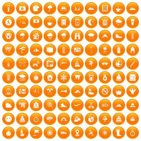 mountaineering: 100 mountaineering icons set orange Illustration