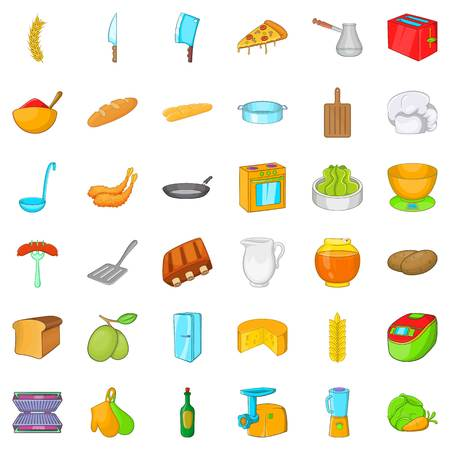 rolling bag: Kitchen cooking icons set. Cartoon style of 36 kitchen cooking vector icons for web isolated on white background Illustration