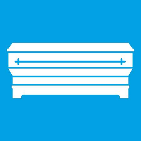 Coffin icon white isolated on blue background vector illustration