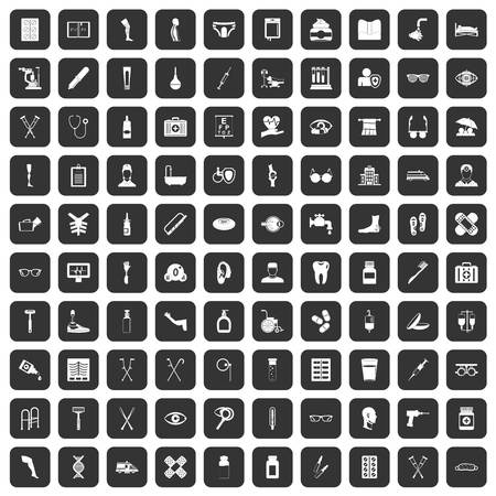 eyepiece: 100 disabled healthcare icons set in black Illustration