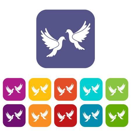 Wedding doves icons set