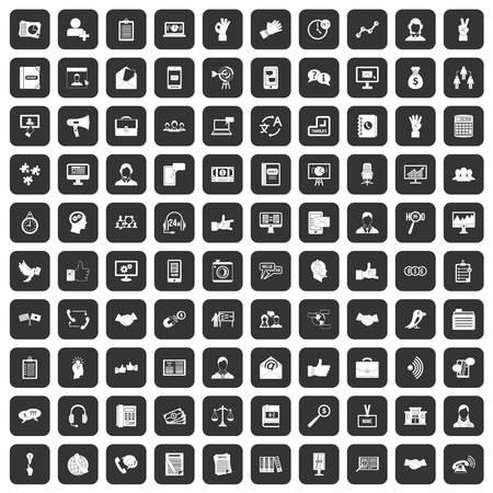 100 dialog icons set black