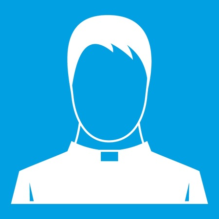 pastor: Priest icon white isolated on blue background vector illustration