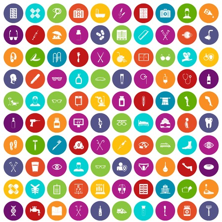 eyepiece: 100 disabled healthcare icons set in different colors circle isolated vector illustration