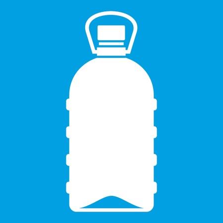 nonalcoholic: Big bottle icon white isolated on blue background vector illustration