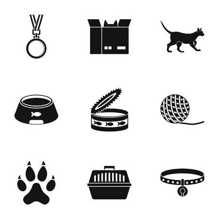 silueta de gato: Cat house icons set. Simple set of 9 cat house vector icons for web isolated on white background
