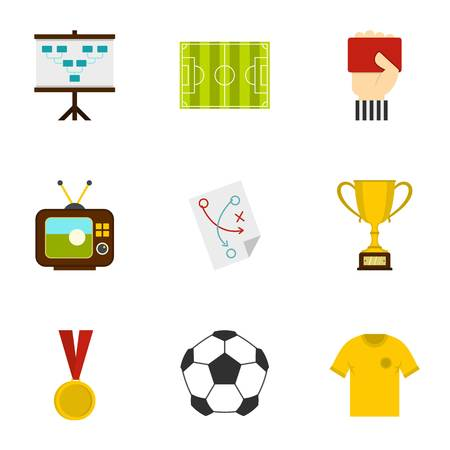 briefing: Football briefing icons set. Flat set of 9 football briefing vector icons for web isolated on white background