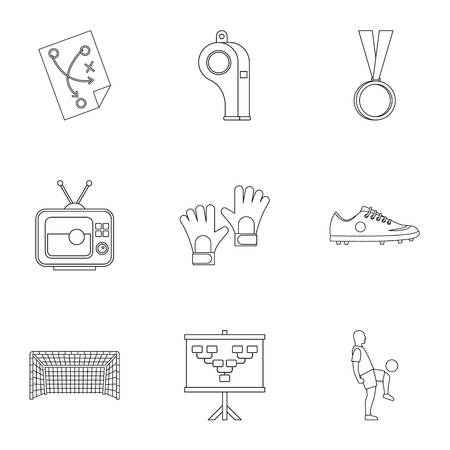 briefing: Football briefing icons set. Outline set of 9 football briefing vector icons for web isolated on white background