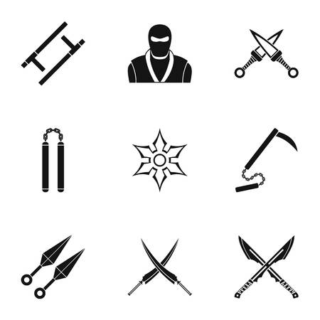 Japanese weapons icons set. Simple set of 9 Japanese weapons vector icons for web isolated on white background Illustration