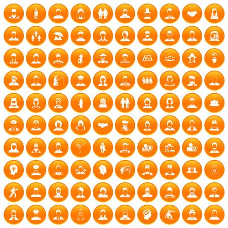 100 people icons set in orange circle isolated on white vector illustration
