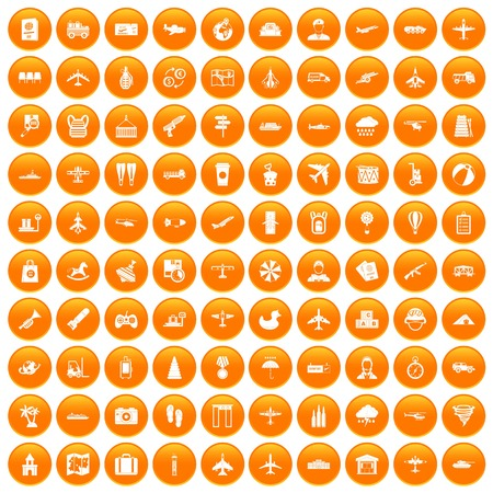 palm pilot: 100 plane icons set in orange circle isolated on white vector illustration