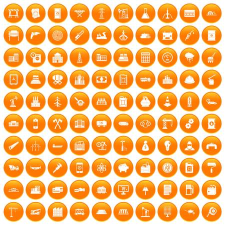 drill: 100 plant icons set in orange circle isolated on white vector illustration Illustration