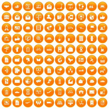 100 icone post e posta impostate nel cerchio arancione isolato su bianco illustrazione vettoriale Archivio Fotografico - 82925743