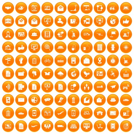 100 post and mail icons set in orange circle isolated on white vector illustration