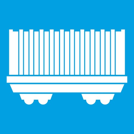 freight train: Cargo wagon icon white isolated on blue background vector illustration