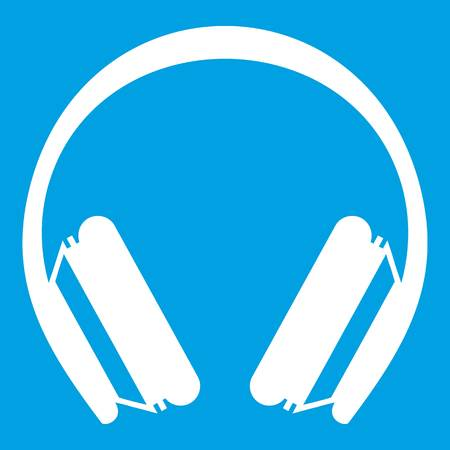 Protective headphones icon white isolated on blue background vector illustration