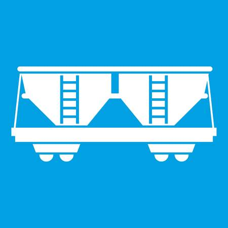 boxcar: Freight railroad car icon white isolated on blue background vector illustration