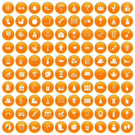 100 preschool education icons set orange Illustration