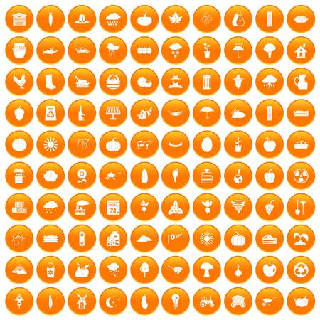 100 pumpkin icons set orange Illustration
