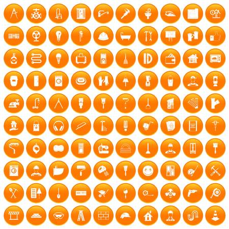 100 renovation icons set in orange circle isolated on white vector illustration